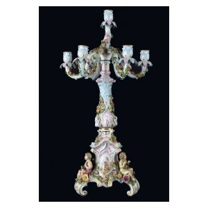Candelabro a 7 fiamme in porcellana decorata