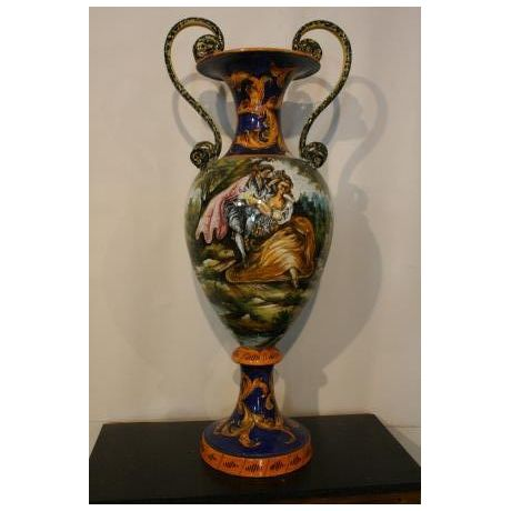 Antico vaso francese in ceramica decorata del 1800 1900